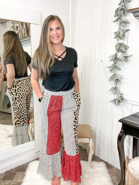 Red Mixed Leopard Wide Leg Pants*