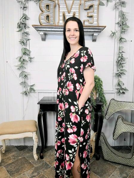 Black Floral Scoop Hem Maxi Dress