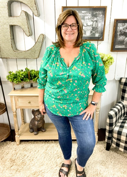 Green & Floral Ruffle Neck Top