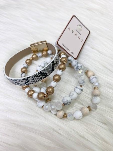 Snake Print & Stone Layered Bracelets