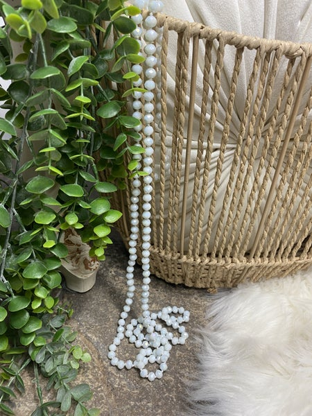 White Crystal Bead Necklace