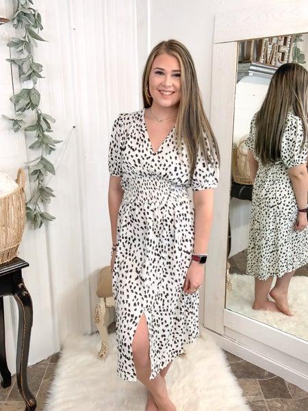 Animal Print Smocked Waist Dress (ONLINE ONLY)*