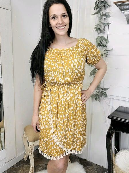 Marigold Off The Shoulder Leopard Dress