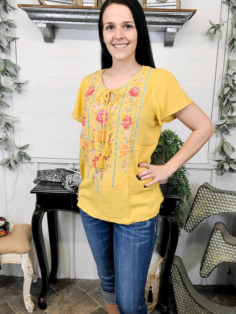 Marigold Front Tie Embroidered Top
