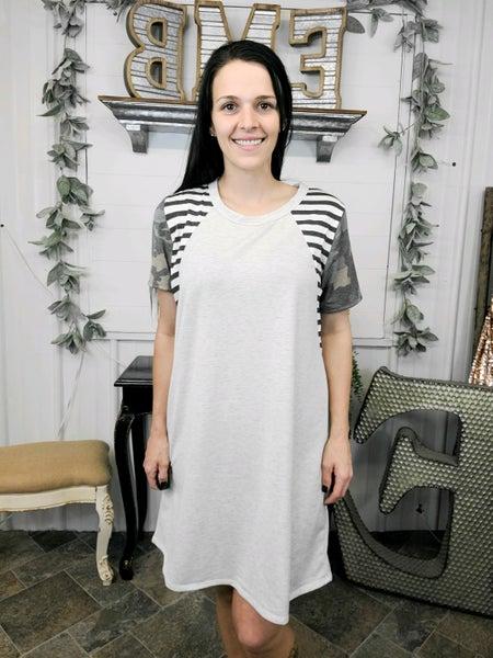 Oatmeal Camo Sleeve Dress