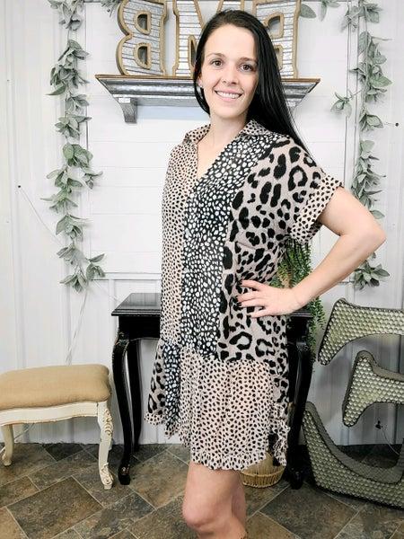 Mocha Mixed Leopard Button Down Dress (ONLINE ONLY)*