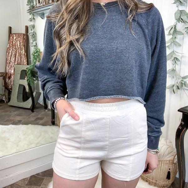 Cream Acid Wash Shorts (ONLINE ONLY)*