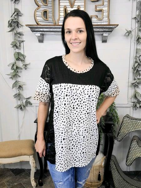 Black Lace & Leopard Colorblock Top