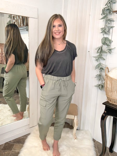 Smoke Olive High Waist Cargo Pants {ONLINE ONLY}*