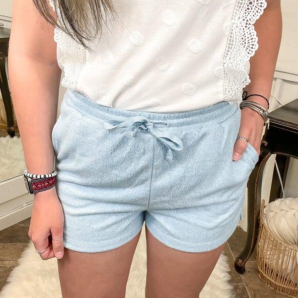Smoke Blue Soft Knit Shorts