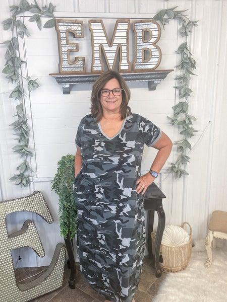 Heather Grey Camo Midi Dress (ONLINE ONLY)*