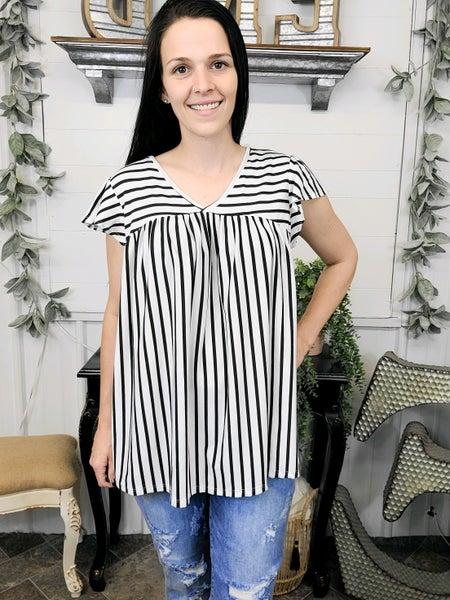 Black & White Stripe Baby Doll Top