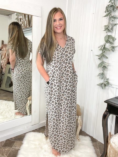 Taupe Leopard Rolled Sleeve Maxi (ONLINE ONLY)*
