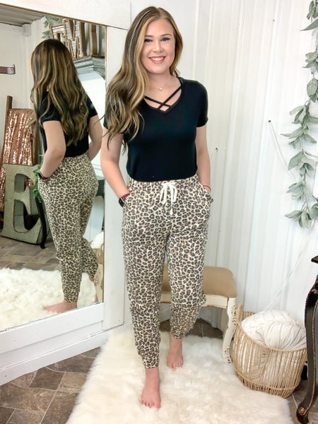 Leopard Print Jogger Lounge Pants (ONLINE ONLY)*