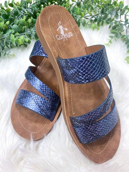 Corkys Lydia Navy Snake Sandal