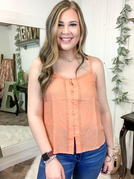 Coral Button Down Cami *ONLINE ONLY*