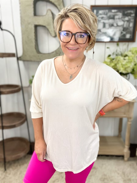 Ivory Ribbed Dolman Top - ALL SALES FINAL -