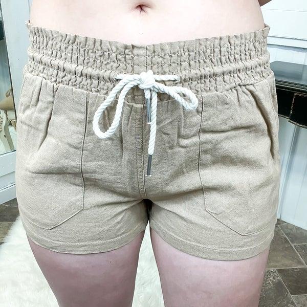 Camel Linen Smocked Shorts