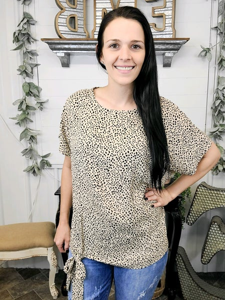 Taupe Leopard Tie Hem Top