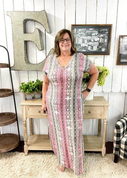 Mint & Pink Aztec Maxi Dress
