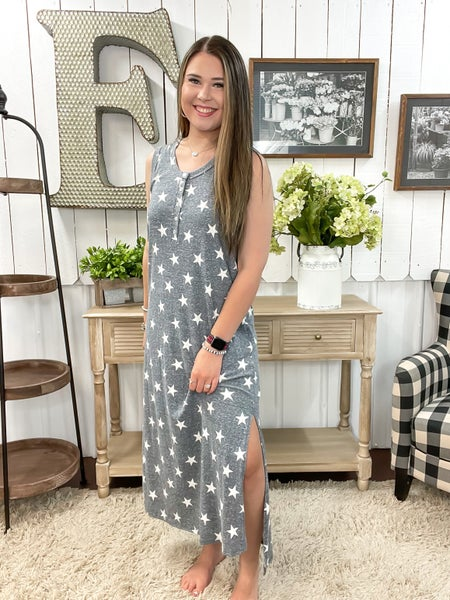 Charcoal & Stars Henley Maxi Dress