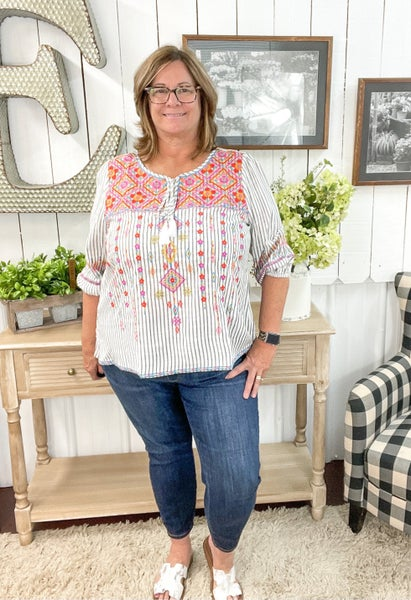 Grey Pinstripes & Embroidery Top