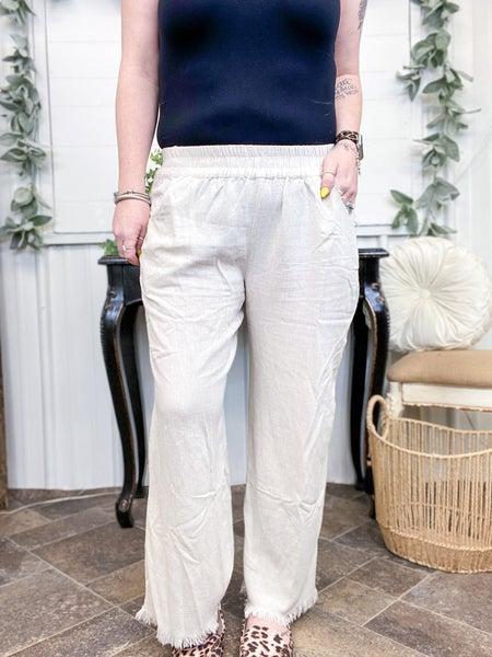 Oatmeal Linen Cropped Pants