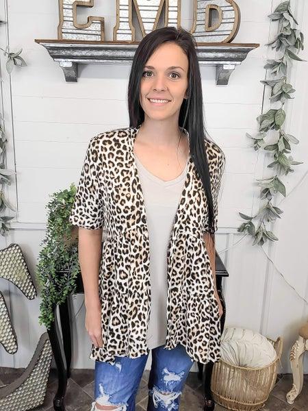 Leopard Ruffle Cardigan