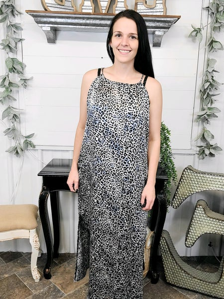 Grey Leopard Halter Maxi Dress *ONLINE ONLY*