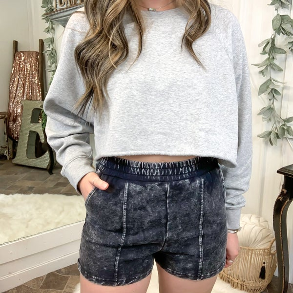 Black Acid Wash Shorts (ONLINE ONLY)*