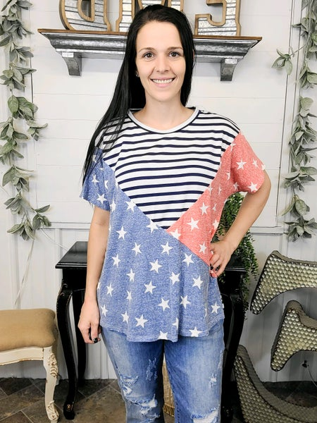 Navy Stripes & Stars Color Block Top