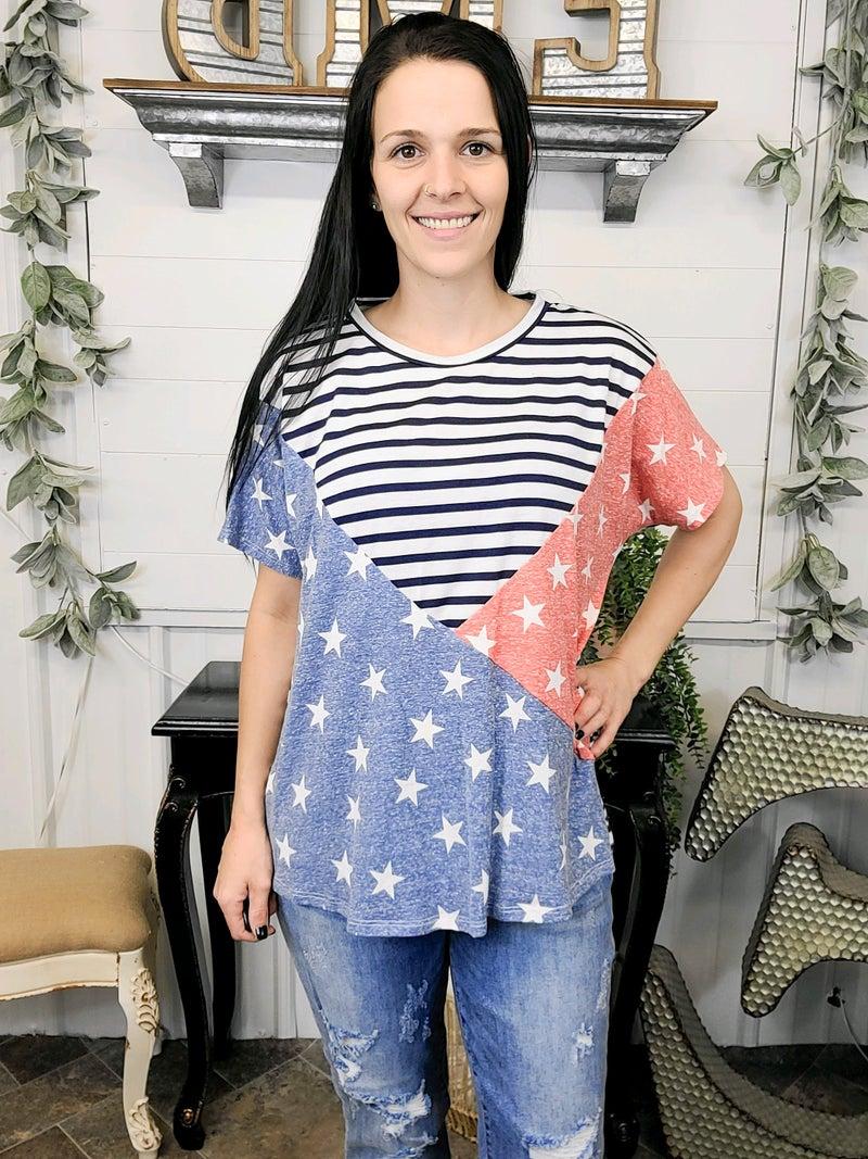 Navy Stripes & Stars Color Block Top