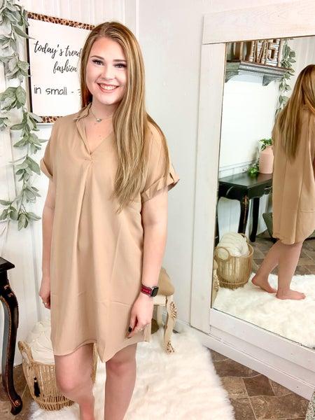 Mocha Collared Tunic Dress*