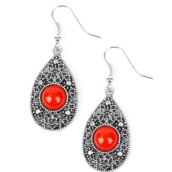 From POP To Bottom - Earrings Red