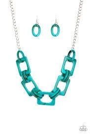 Sizzle Sizzle - Blue - Acrylic Links - Silver Chain