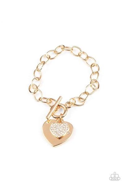 Heartbeat Bedazzle Gold Bracelet