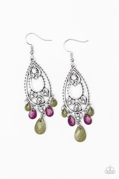 Fashion Flirt - Multi - Faceted Green and Purple Teardrops