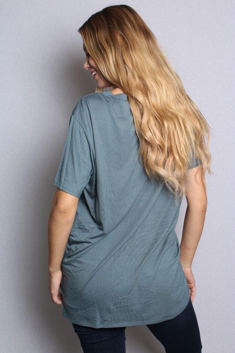 Short Sleeve V-Neck Solid Top