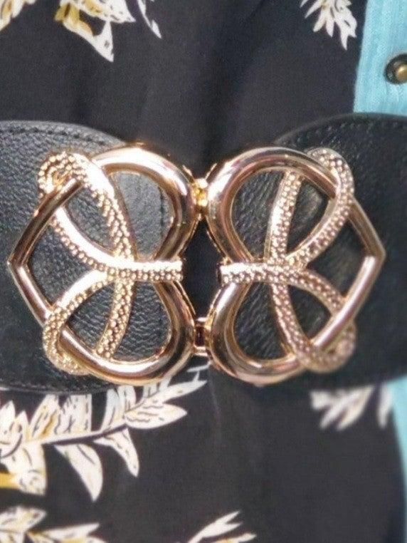 Heart Shaped Gold Buckle Elastic Belt *Final Sale*