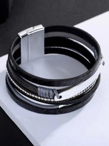 Black Leopard Vegan Leather Magnetic Bracelet