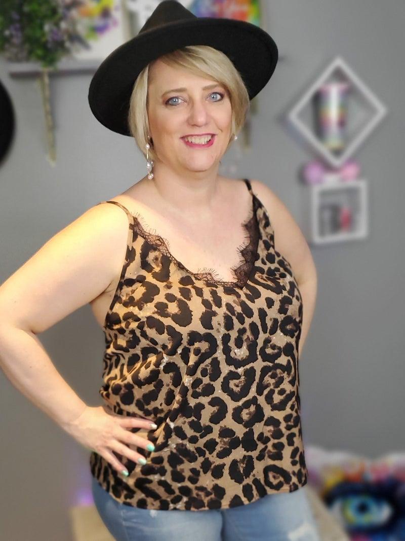 Curvy Leopard & Lace Cami *Final Sale*