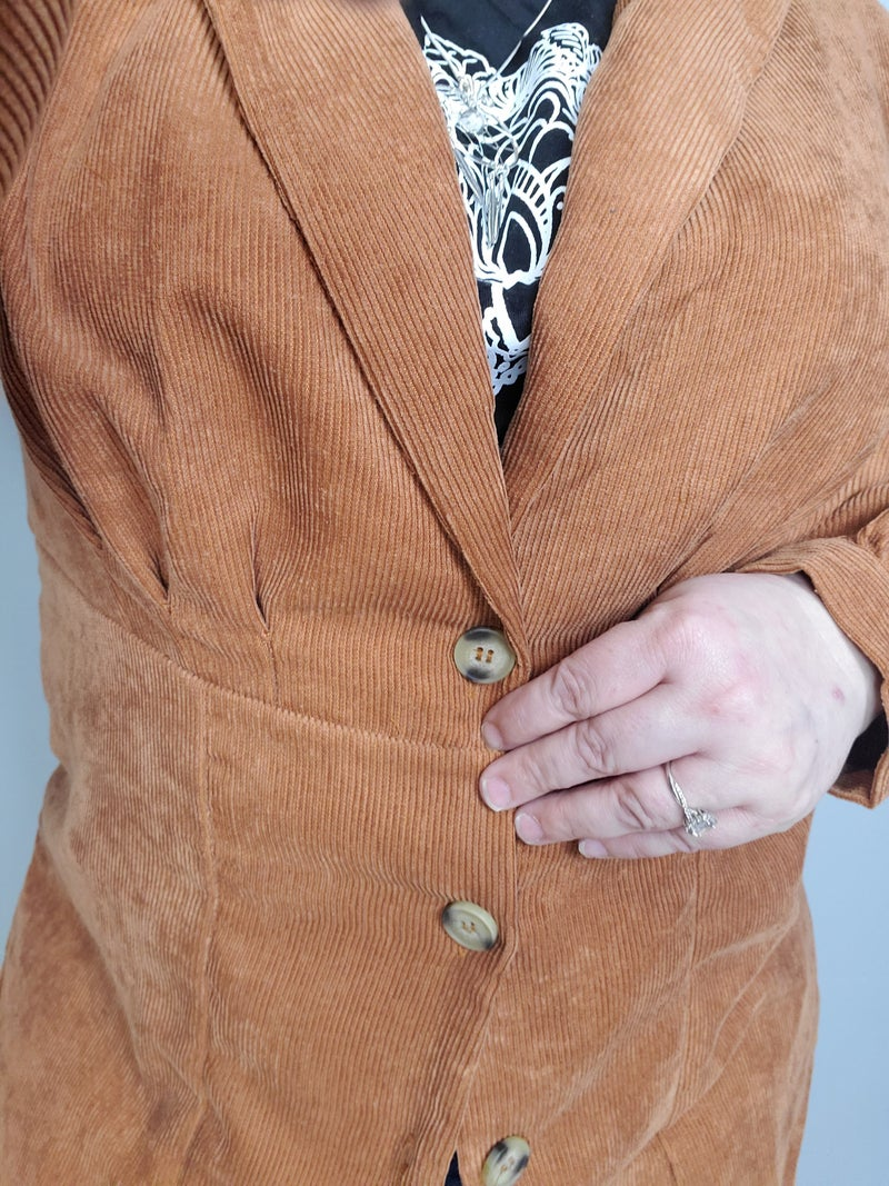 Curvy Lapel Collar Lightweight Corduroy Jacket *Final Sale*