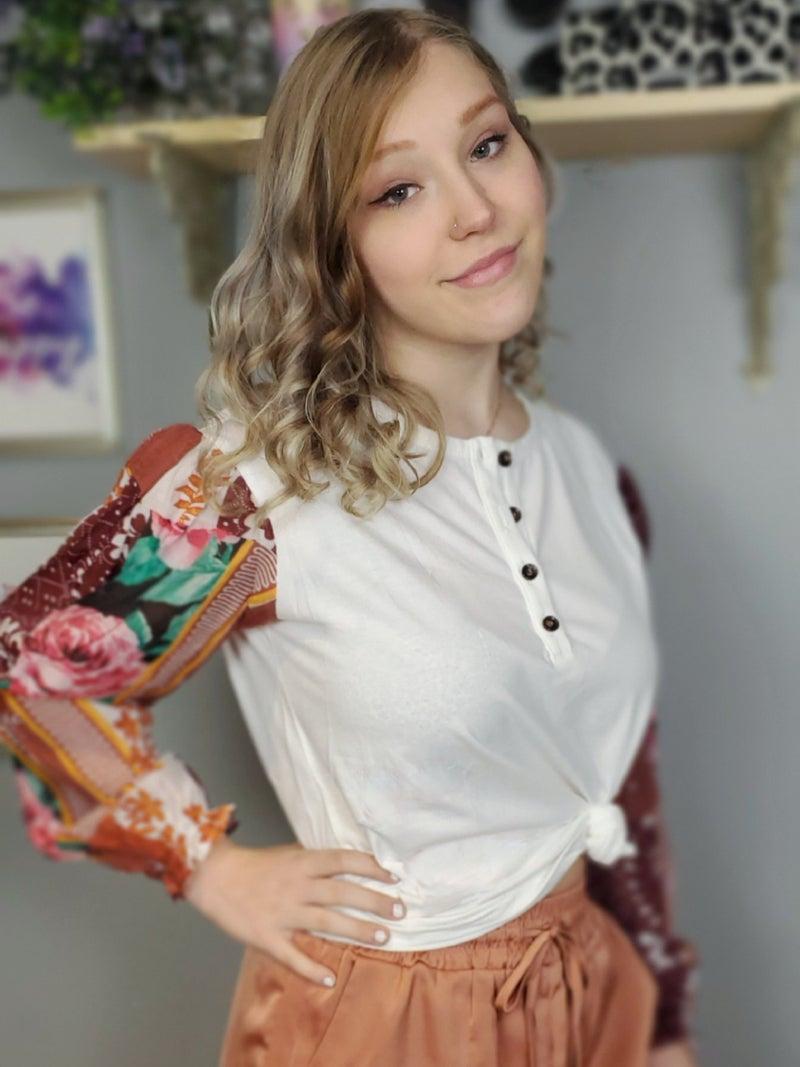 Bohemian Patchwork Floral Sleeve Half Button Top *Final Sale*