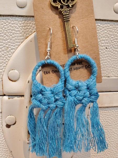 Small Macrame Fringe Earrings