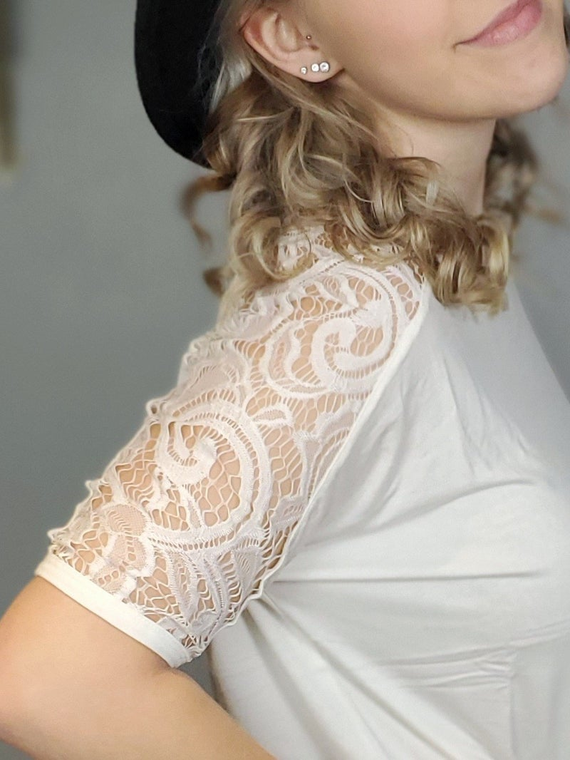 Luxe Rayon Lace Detail Short Sleeve Top *Final Sale*