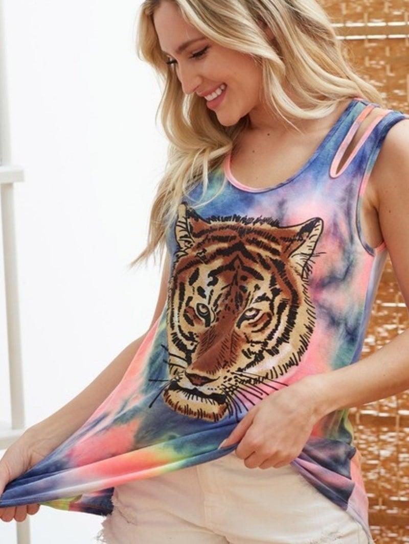 Tie Dye Tiger Tank