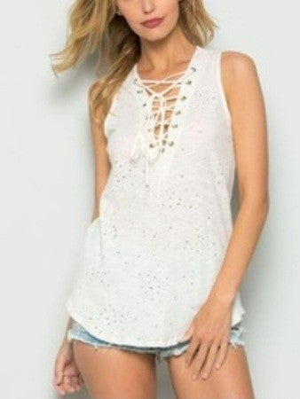 Distressed Lace Down Tank Top
