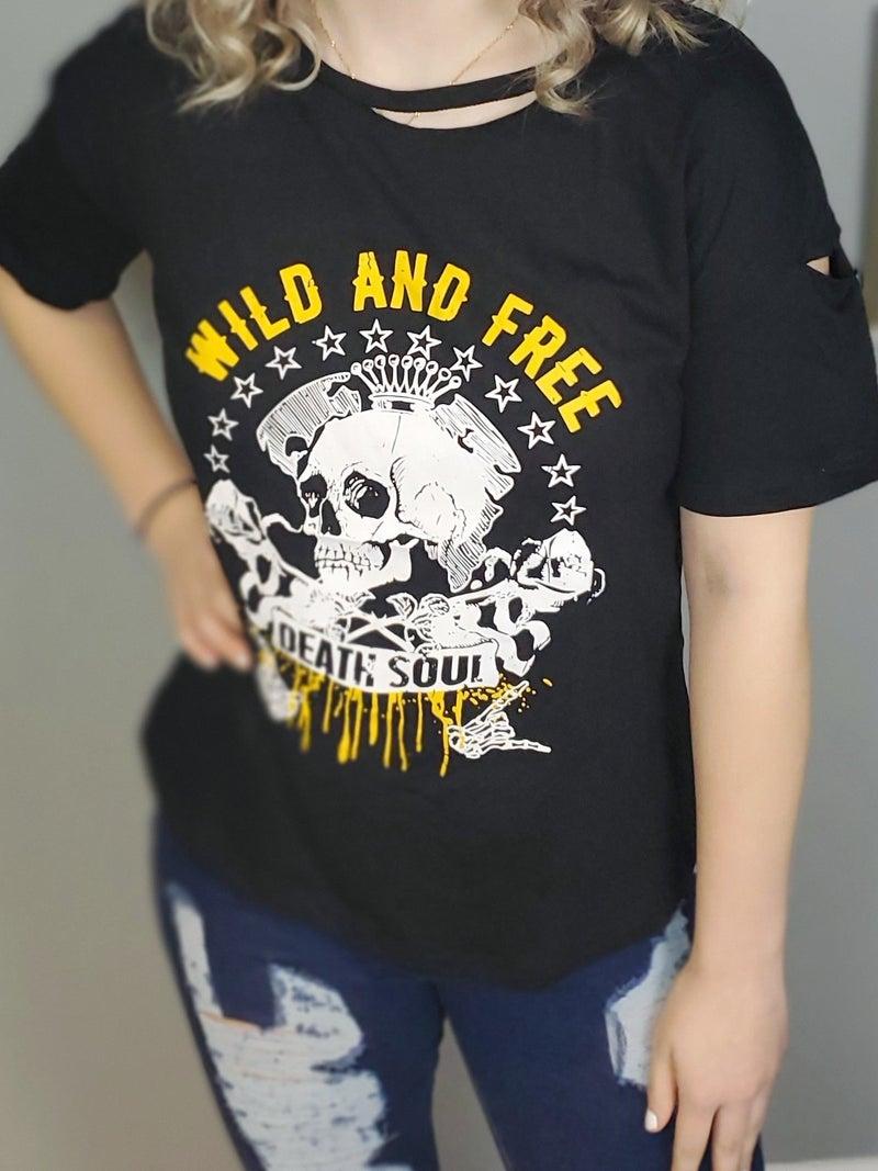 Skull Wild & Free Graphic Distressed Boyfriend Tee *Final Sale*