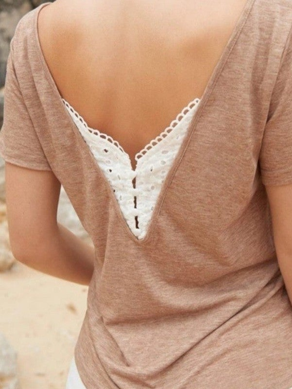 Reversible V-cut Eyelet Embroidered Tee *Final Sale*