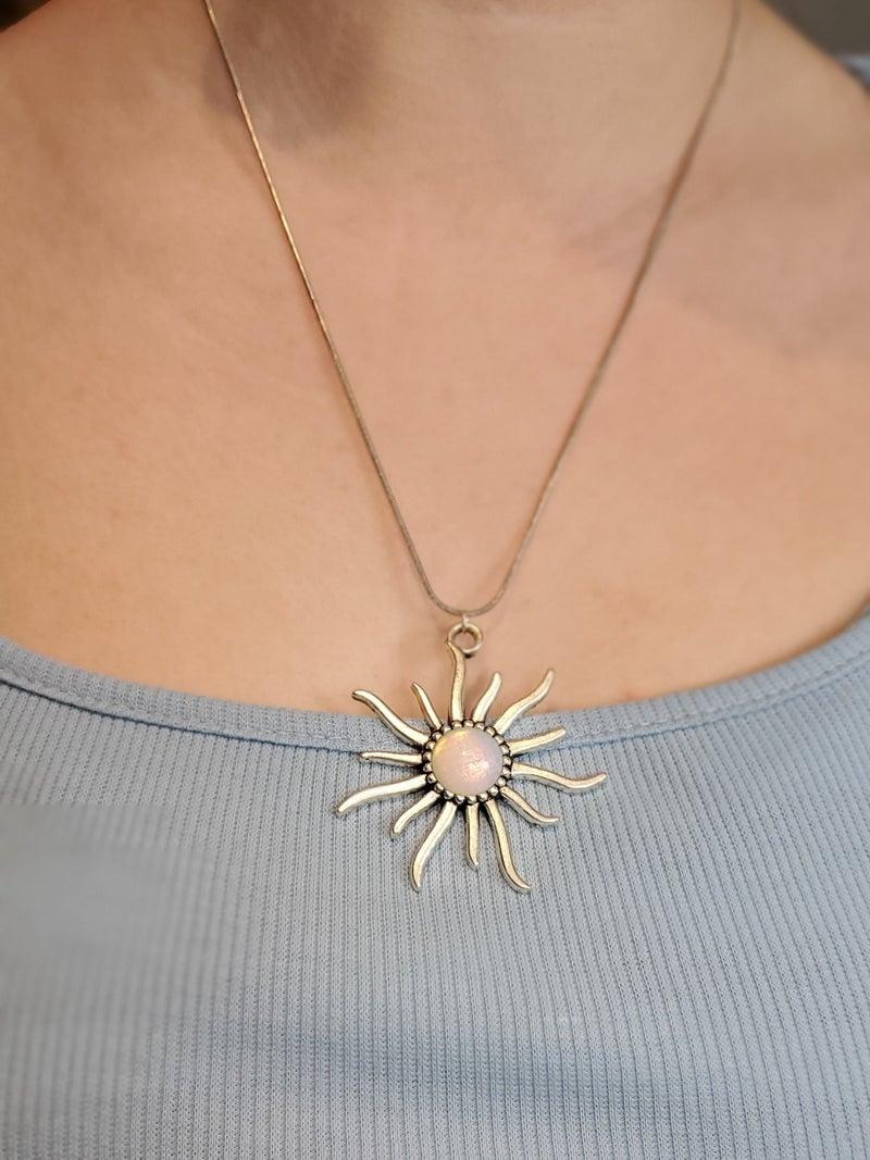 Crystal Centered Sun Pendant Necklace